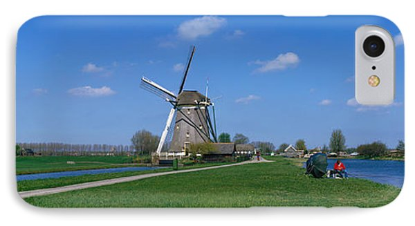 Windmill And Canals Near Leiden The IPhone Case by Panoramic Images