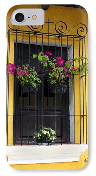 Window At Old Antigua Guatemala IPhone Case by Kurt Van Wagner