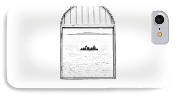 Window View Of Desert Island Puerto Rico Prints Black And White Line Art Phone Case by Shawn O'Brien
