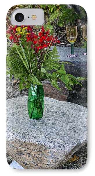 Wine And Red Flowers On The Rocks Phone Case by Les Palenik