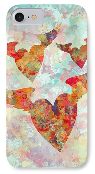 Winged Hearts Watercolor Painting IPhone Case by Georgeta Blanaru
