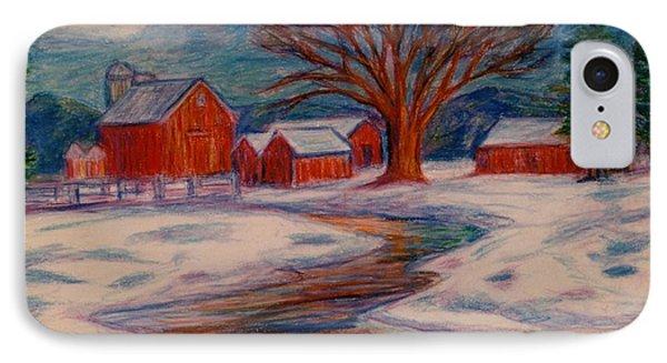 Winter Barn Scene Phone Case by Kendall Kessler