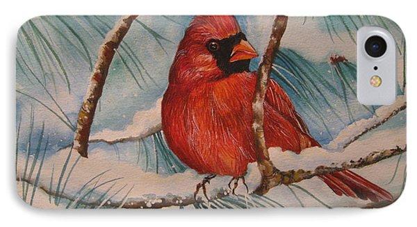 Winter Cardinal Phone Case by Cheryl Borchert