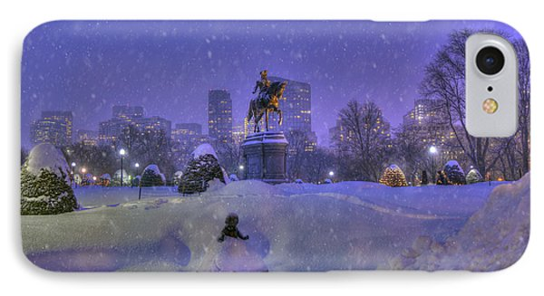 Winter In Boston - George Washington Monument - Boston Public Garden IPhone Case by Joann Vitali