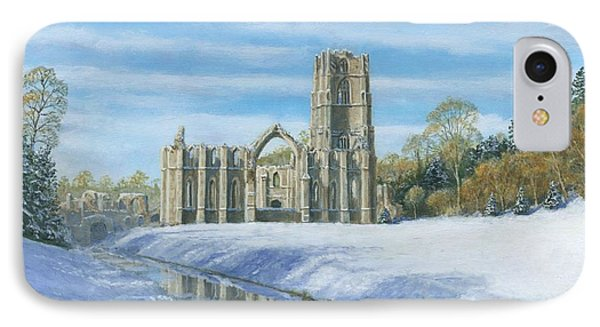 Winter Morning Fountains Abbey Yorkshire Phone Case by Richard Harpum
