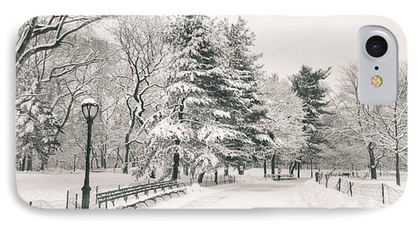 Winter Path - Snow Covered Trees In Central Park IPhone Case by Vivienne Gucwa