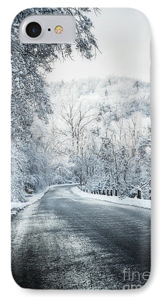 Winter Road In Forest Phone Case by Elena Elisseeva