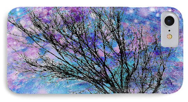 Winter Starry Night Square Phone Case by Ann Powell