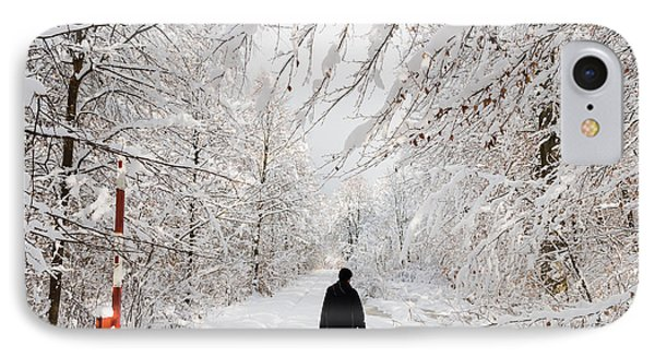 Winterly Forest With Snow Covered Trees Phone Case by Matthias Hauser