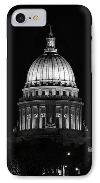 Wisconsin State Capitol Building At Night Black And White IPhone Case by Sebastian Musial