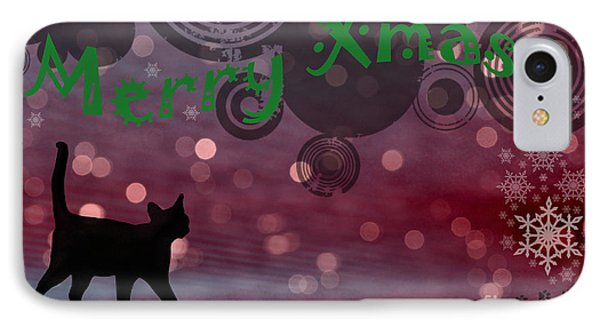 Wishing You All A Purrfect Xmas... Phone Case by Nina Stavlund