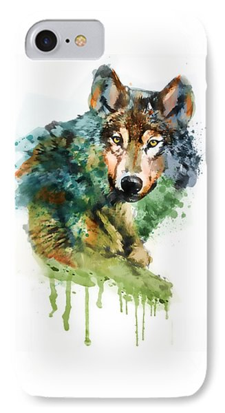 Wolf Face Watercolor IPhone Case by Marian Voicu
