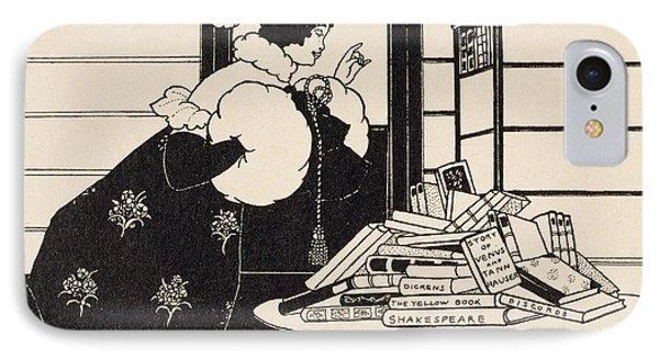 Woman In A Bookshop IPhone Case by Aubrey Beardsley