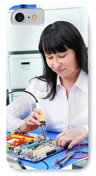 Woman Making A Micro Processor IPhone Case by Wladimir Bulgar