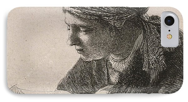 Woman Reading IPhone Case by Rembrandt