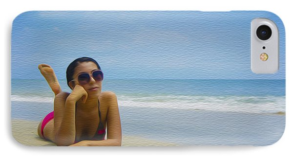 Woman Sun Tanning IPhone Case by Aged Pixel