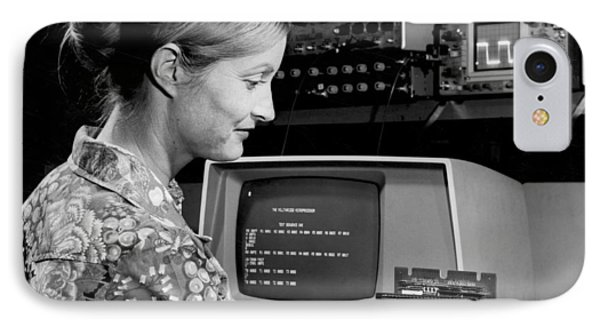 Woman Testing A Microcomputer IPhone Case by Underwood Archives