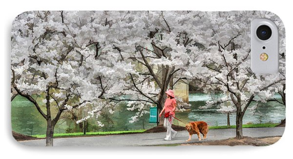 Woman Walking Dog  Rail To Trail Phone Case by Dan Friend