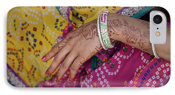 Woman With Henna Tattoo On Her Hand IPhone Case by Panoramic Images