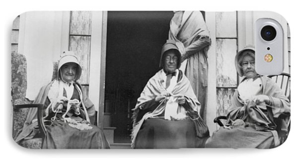 Women Knitting On A Porch IPhone Case by Underwood Archives