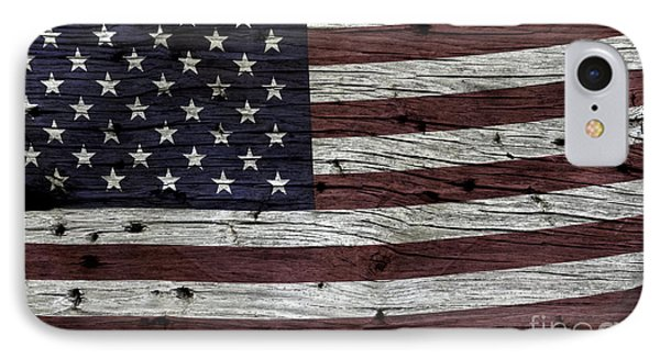 Wooden Textured Usa Flag3 IPhone Case by John Stephens