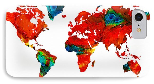 World Map 12 - Colorful Red Map By Sharon Cummings Phone Case by Sharon Cummings