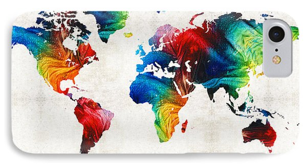 World Map 19 - Colorful Art By Sharon Cummings IPhone Case by Sharon Cummings