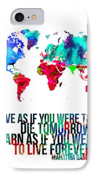 World Map With A Quote IPhone Case by Naxart Studio