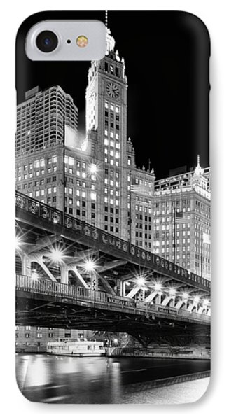 Wrigley Building At Night In Black And White IPhone Case by Sebastian Musial