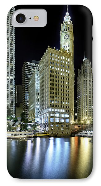 Wrigley Building At Night  IPhone Case by Sebastian Musial