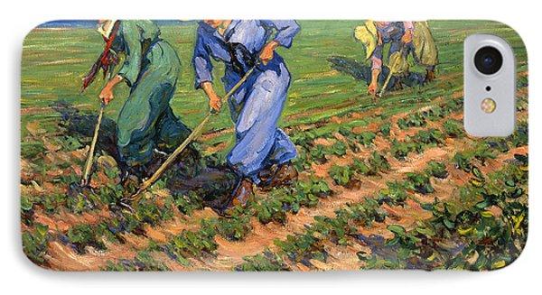 Ww1 Land Girls Farming Painting Print IPhone Case by Georgia Fowler