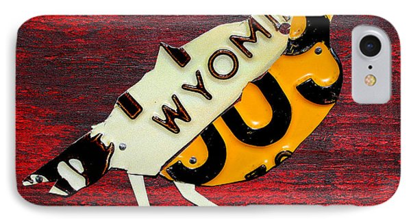 Wyoming Meadowlark Wild Bird Vintage Recycled License Plate Art IPhone Case by Design Turnpike