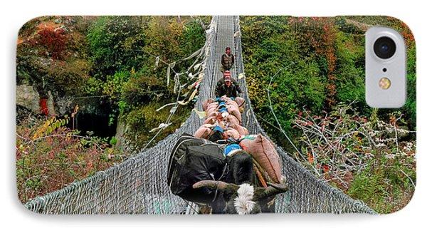 Yaks On Rope Bridge IPhone Case by Babak Tafreshi