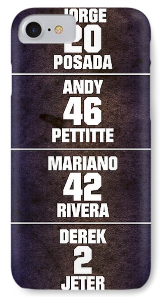 Yankees Core Four Chart IPhone Case by Anibal Diaz
