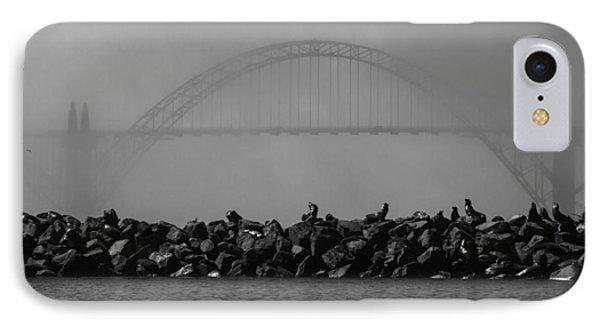 Yaquina Bay Bridge Under Fog IPhone Case by Mark Kiver