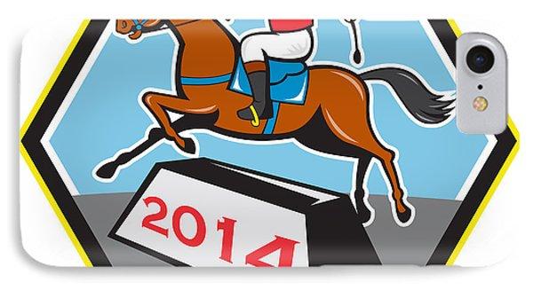 Year Of Horse 2014 Jockey Jumping Cartoon Phone Case by Aloysius Patrimonio