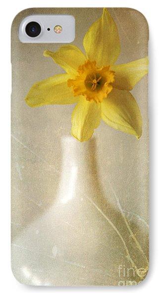 Yellow Daffodil In The White Flower Pot IPhone Case by Jaroslaw Blaminsky