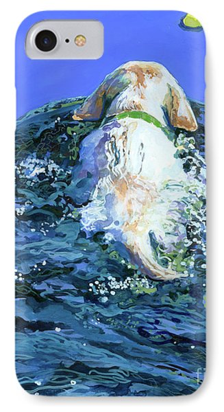 Yellow Lab  Blue Wake IPhone Case by Molly Poole