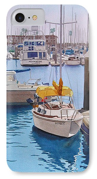 Yellow Sailboat Oceanside IPhone Case by Mary Helmreich