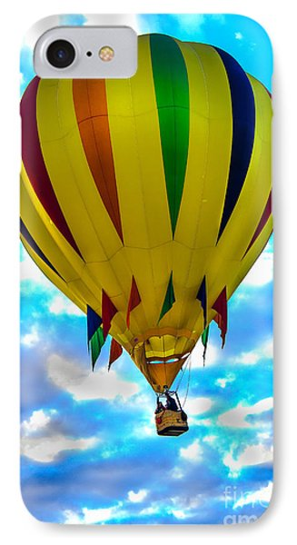 Yellow Striped Hot Air Balloon IPhone Case by Robert Bales