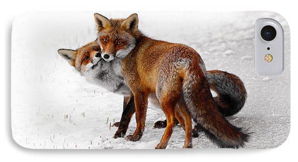 Yin Yang _ Red Fox Love IPhone Case by Roeselien Raimond