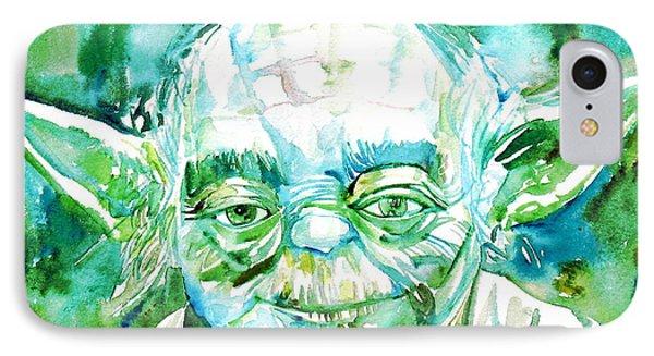 Yoda Watercolor Portrait IPhone Case by Fabrizio Cassetta