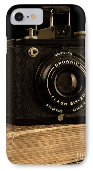 You Push The Button We Do The Rest Kodak Brownie Vintage Camera IPhone Case by Edward Fielding