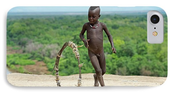 Young Karo Boy With Home Made Toy Hoop IPhone Case by Tony Camacho