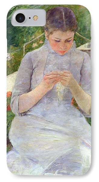 Young Woman Sewing In The Garden IPhone Case by Mary Stevenson Cassatt