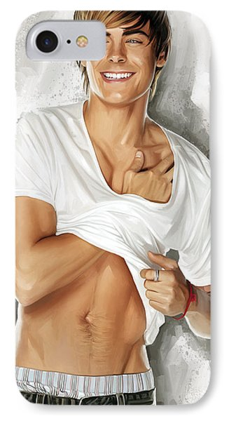 Zac Efron Artwork IPhone Case by Sheraz A