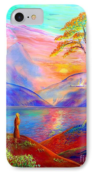 Flying Swan, Zen Moment IPhone Case by Jane Small
