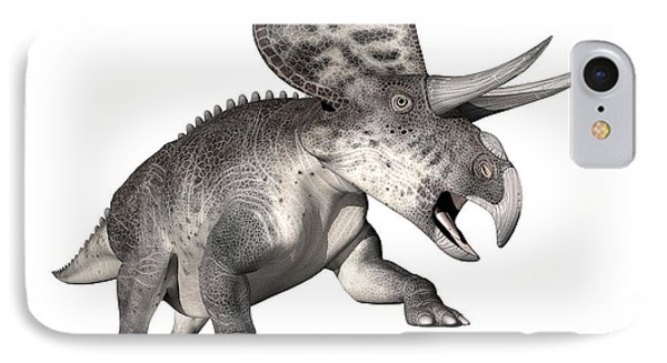 Zuniceratops Dinosaur, White Background IPhone Case by Elena Duvernay