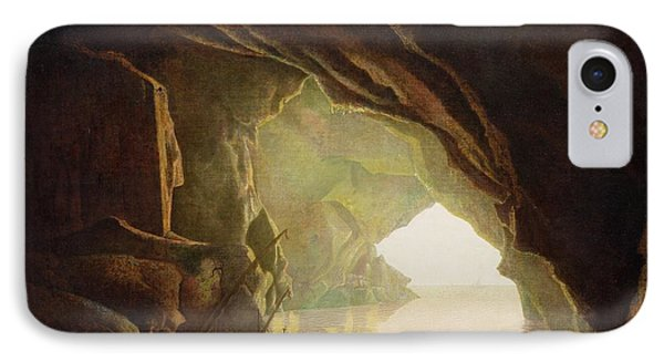 A Grotto In The Gulf Of Salerno - Sunset IPhone Case by Joseph Wright of Derby