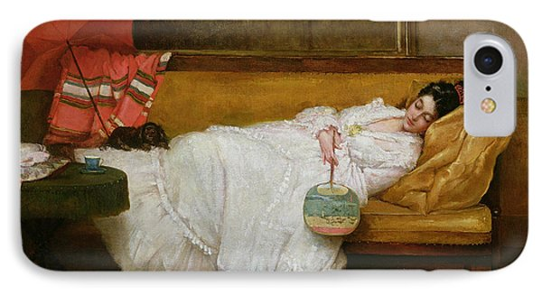 Girl In A White Dress Resting On A Sofa IPhone Case by Alfred Emile Stevens